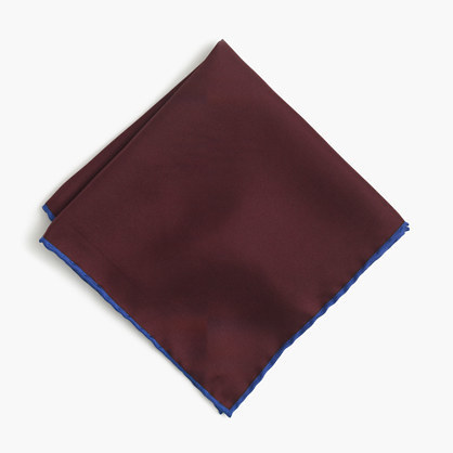 J.Crew Tipped Italian Silk Pocket Square In Blue
