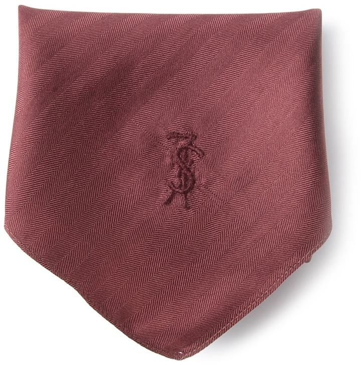 Yves Saint Laurent Vintage Textured Stripe Pocket Square