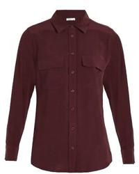 Slim signature washed silk shirt medium 720656