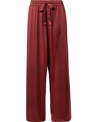 Zimmermann Washed Silk Satin High Rise Wide Leg Pants