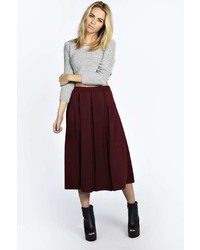 Boohoo Beau Box Pleat Midi Length Skater Skirt