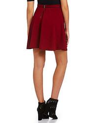 Takara Faux Leather Trim Solid Skater Skirt