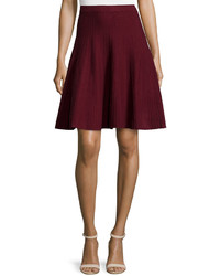 Chelsea & Theodore Ottoman Pleated Knit Skirt Burgundy