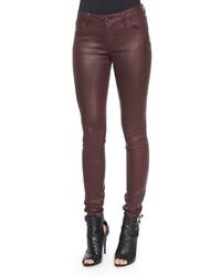 Burberry Brit Wax Skinny Jeans Oxblood