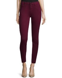 Jen7 Sateen Skinny Jeans Burgundy