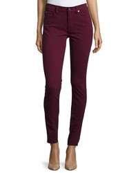 7 For All Mankind Mid Rise Skinny Jeans Dark Ruby Red