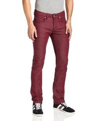 Naked Famous Denim Skinny Guy Skinny Leg Stretch Jean In Burgundy