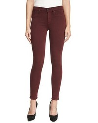 Hudson Nico Mid Rise Skinny Jeans Red