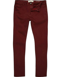 River Island Red Berry Sid Stretch Skinny Jeans