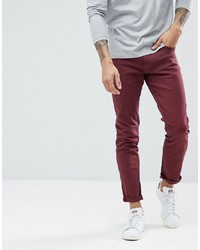 LDN DNM Skinny Jeans In Burgundy