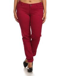 Burgundy five pocket skinny pants plus too medium 847027