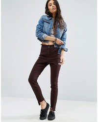 Asos Deconstructed Skinny Pants With Raw Edge Waistband