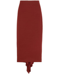 Rosetta Getty Asymmetric Crepe Midi Skirt Burgundy