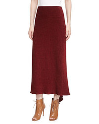 Rosetta Getty Chenille Godet Back Midi Skirt Dark Red
