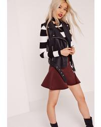Missguided Scuba Frill A Line Skirt Burgundy