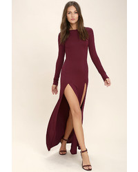 bca6ab68843 ... Out of stock · LuLu s Rustling Leaves Burgundy Long Sleeve Maxi Dress