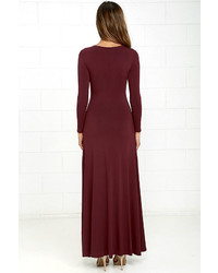 923e4b14580 ... LuLu s Swept Away Burgundy Long Sleeve Maxi Dress ...