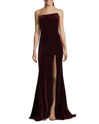 XSCAPE Strapless Velvet Gown