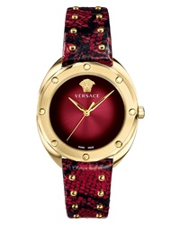 Versace Shadov Snakeskin Leather Watch