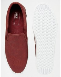 f57f1cdbb99 Asos Slip On Sneakers In Burgundy With Snakeskin Effect And Faux ...