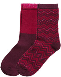 H&M 2 Pack Socks Burgundyzigzag Ladies