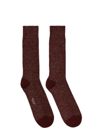 Paul Smith Burgundy And Gold Glitter Rib Socks