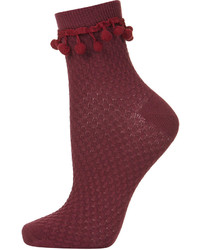 Topshop Burgundy Ankle Socks With Pom Pom Trim 77% Cotton 21% Nylon 2% Elastane Machine Washable
