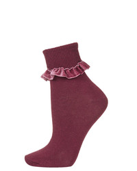 Topshop Burgundy Ankle Socks With Velvet Trim 77% Cotton 21% Nylon 2% Elastane Machine Washable