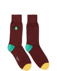 Paul Smith Burgundy Embroidered Avocado Socks