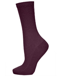 Topshop Burgundy Ribbed Glitter Ankle Socks 60% Nylon 40% Metallised Fibres Machine Washable