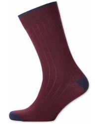 Charles Tyrwhitt Burgundy Ribbed Socks Size Large By