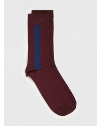 Topman Burgundynavy Tuxedo Stripe Socks