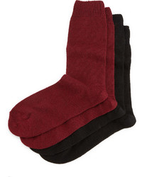 Neiman Marcus Cashmere Blend Two Pack Socks Blackburgundy