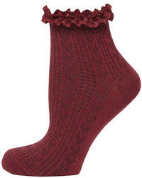Dorothy Perkins Burgundy Lace Top Ankle Socks