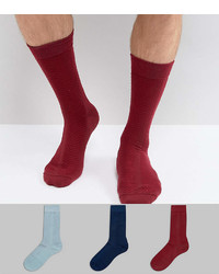 Asos Made In Uk Textured Socks In Gift Box In Burgundy Green Navy 3 Pack