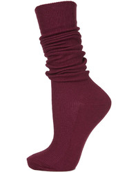 Topshop Super Soft Ribbed Burgundy Knee High Socks Can Be Worn Pulled Up To The Knees Or Slouched Down 66% Acrylic 34% Nylon Machine Washable