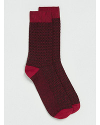 Topman Burgundy Square Texture Socks