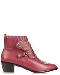 Burgundy Studded Leather Ankle Boots