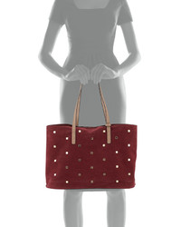1df94d223663 ... Neiman Marcus Studded Faux Suede Tote Bag Wine ...