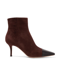 Gianvito Rossi 70 Two Tone Suede And Leather Ankle Boots