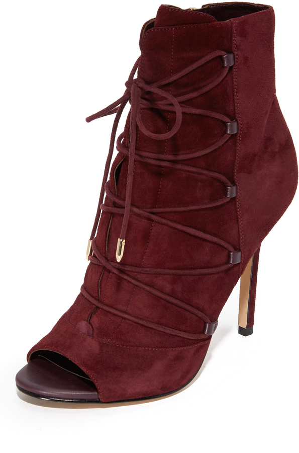dc7e6fbb3fb0 ... Burgundy Suede Ankle Boots Sam Edelman Asher Open Toe Booties ...