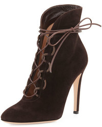 Empire suede lace up 105mm bootie moka medium 645023