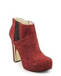 GUESS Coreline Red Suede Fashion Ankle Boots Newdisplay