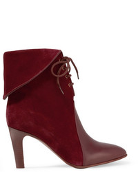 Leather paneled suede ankle boots burgundy medium 818420