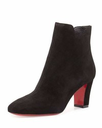 Christian Louboutin Tiagadaboot Suede 70mm Red Sole Bootie Black