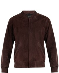 Calvin Klein Collection Satin Trimmed Suede Bomber Jacket