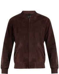 Calvin Klein Collection Satin Trimmed Suede Bomber Jacket