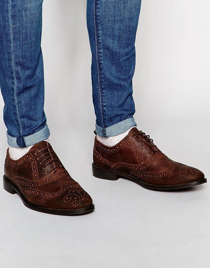 ... Asos ASOS BRAND ASOS Oxford Brogue Shoes in Heavily Waxed Brown Suede