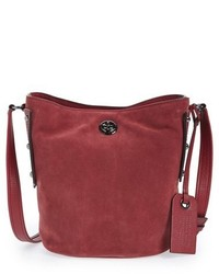 Burgundy Suede Bucket Bag