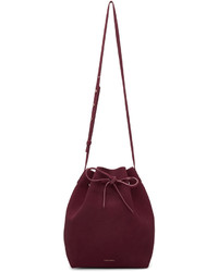 Burgundy suede bucket bag medium 794018